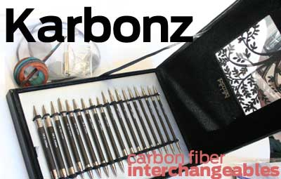 KARBONZ Interchangeables  (9 tip, Carbon Fiber Needle Gift Set with accessories and hand carved Shawl Pin!)
