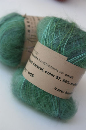 Habu Mohair and Silk Knitting Yarn in 57 Green