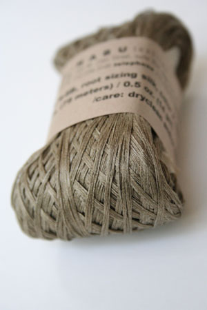 Habu Silk Ribbon Knitting Yarn in Khaki