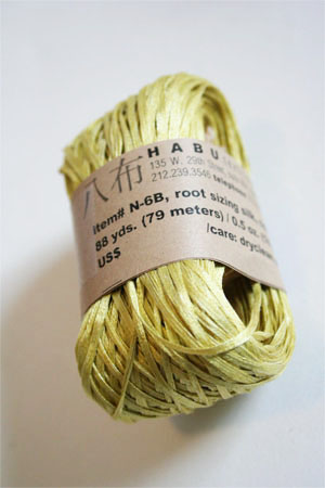 Habu Silk Ribbon Knitting Yarn in 8 Grass Yellow