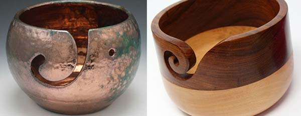 ceramic and wooden yarn bowls