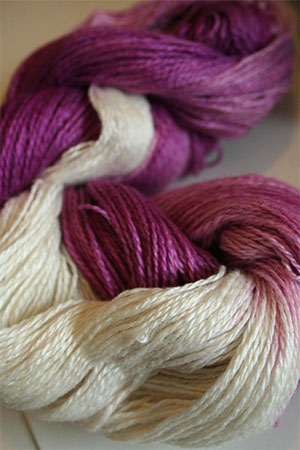Silk and Cashmere Lace Knitting Yarn in Berries & Cream (13A)