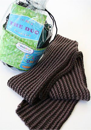 Jade Sapphire DUO Cashmere Scarf Kit--Four skeins of cashmere in two colors with 7 patterns