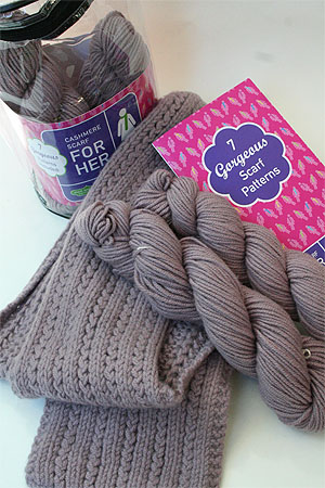 JADE SAPPHIRE Cashmere Scarf knitting kit for HER Lovey Dovey