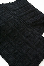 JADE SAPPHIRE Cashmere Scarf knitting kit for HIM Black Leather Jacket