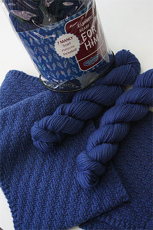 JADE SAPPHIRE Cashmere Scarf knitting kit for HIM Blue Chip