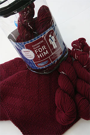 JADE SAPPHIRE Cashmere Scarf knitting kit for HIM Alpha Maroon