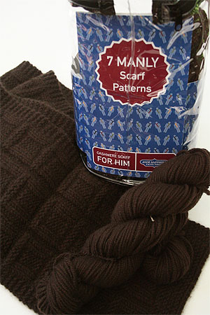 JADE SAPPHIRE Cashmere Scarf knitting kit for HIM Brawny Brown