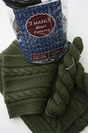 JADE SAPPHIRE Cashmere Scarf knitting kit for HIM GQ Green