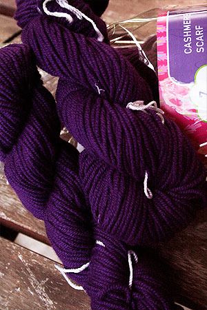 Jade Cashmere Scarf Knitting Kit in Purple Majesty