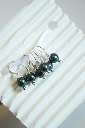 Knitifacts Onyx Pearls and Swarovski Crystal Stitchmarkers