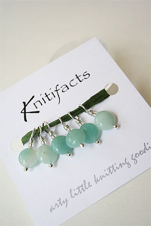 Knitifacts Luxury Yarn Stitch Markers for lace and sock knitting in Amazonite