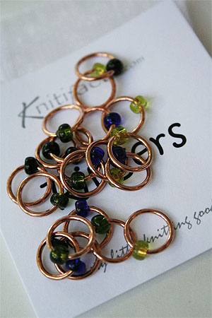 Knitifacts copper ringers with beads for stitch marking