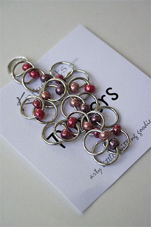 Knitifacts ringers with pink beads