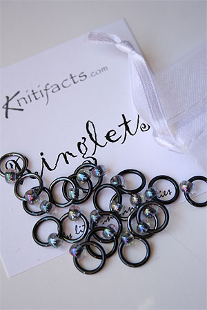 Knitifacts Luxury Yarn Stitch Markers in Black with Iridescent Beads