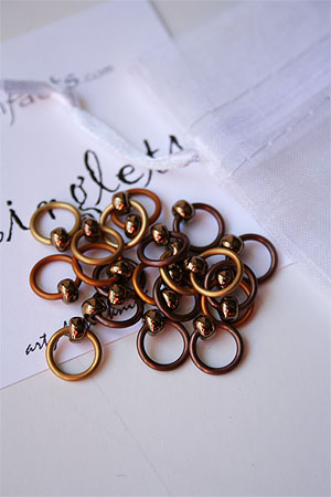 Knitifacts Luxury Yarn Stitch Markers in Bronze Copper
