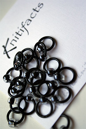 Knitifacts Luxury Yarn Stitch Markers in Black with Clear Beads