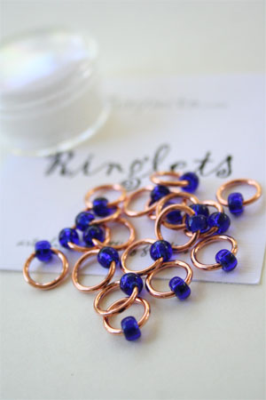 Knitifacts Luxury Yarn Stitch Markers in Copper with Blue Beads