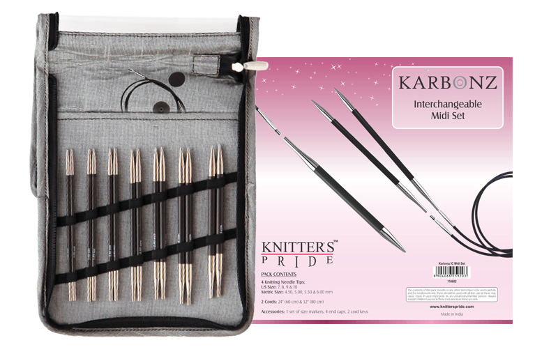 Karbonz Midi lace long-tip click interchangeable knitting needle set