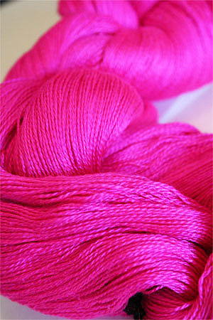 Tosh silk lace yarn by MadelineTosh in Flouro Rose