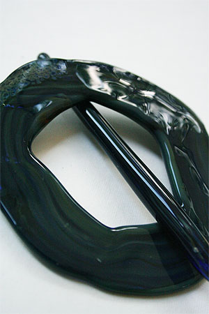 Jade Swirl Glass Shawlpin Dark Teal Monet
