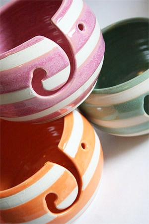 Yarn Bowls in Hand Fired Glazes, Stripes and Dots from Pawley Studios