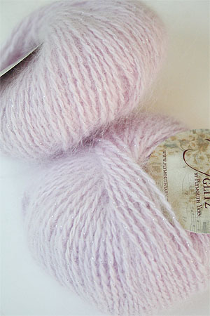 Plymouth Angora Glitz angora yarn with glitter in 712 Pink/Silver