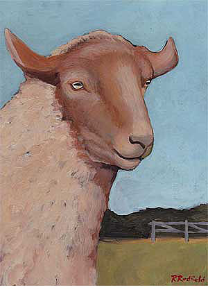Coburg Sheep Painting by Rochelle Redfield - Gotland - A Unique Knitting Gift