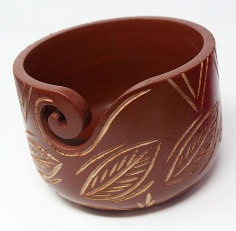 Sheesham Carved Copper Leaf Zen Yarn Bowl