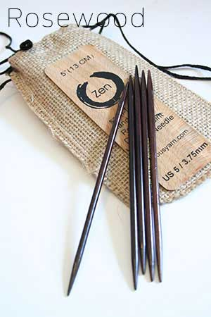ZEN Double Point Knitting Needles in Rosewood