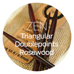 ZEN Triangular Double Point Knitting Needles in Rosewood